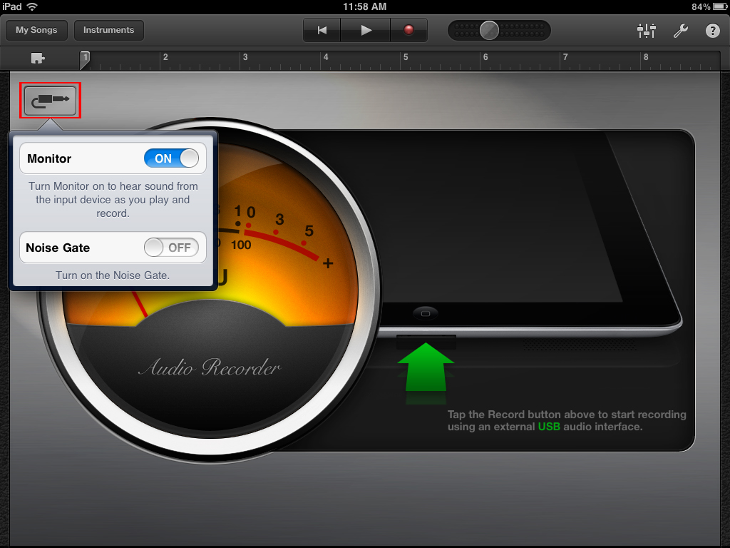Using the Mobile In with GarageBand for iOS - Sonic Port devices