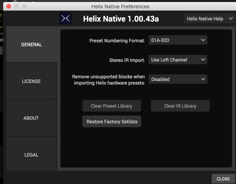 Resetting Factory Presets in Helix Native - Helix Native - Line 6