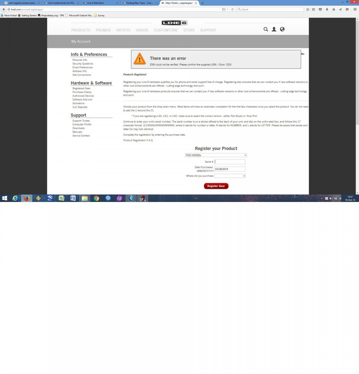 cant register POD HD500x - POD HD - Line 6 Community