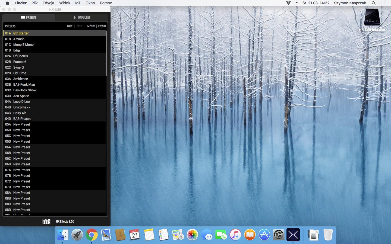 HX Edit It does't work properly on the MAC OS El capitan