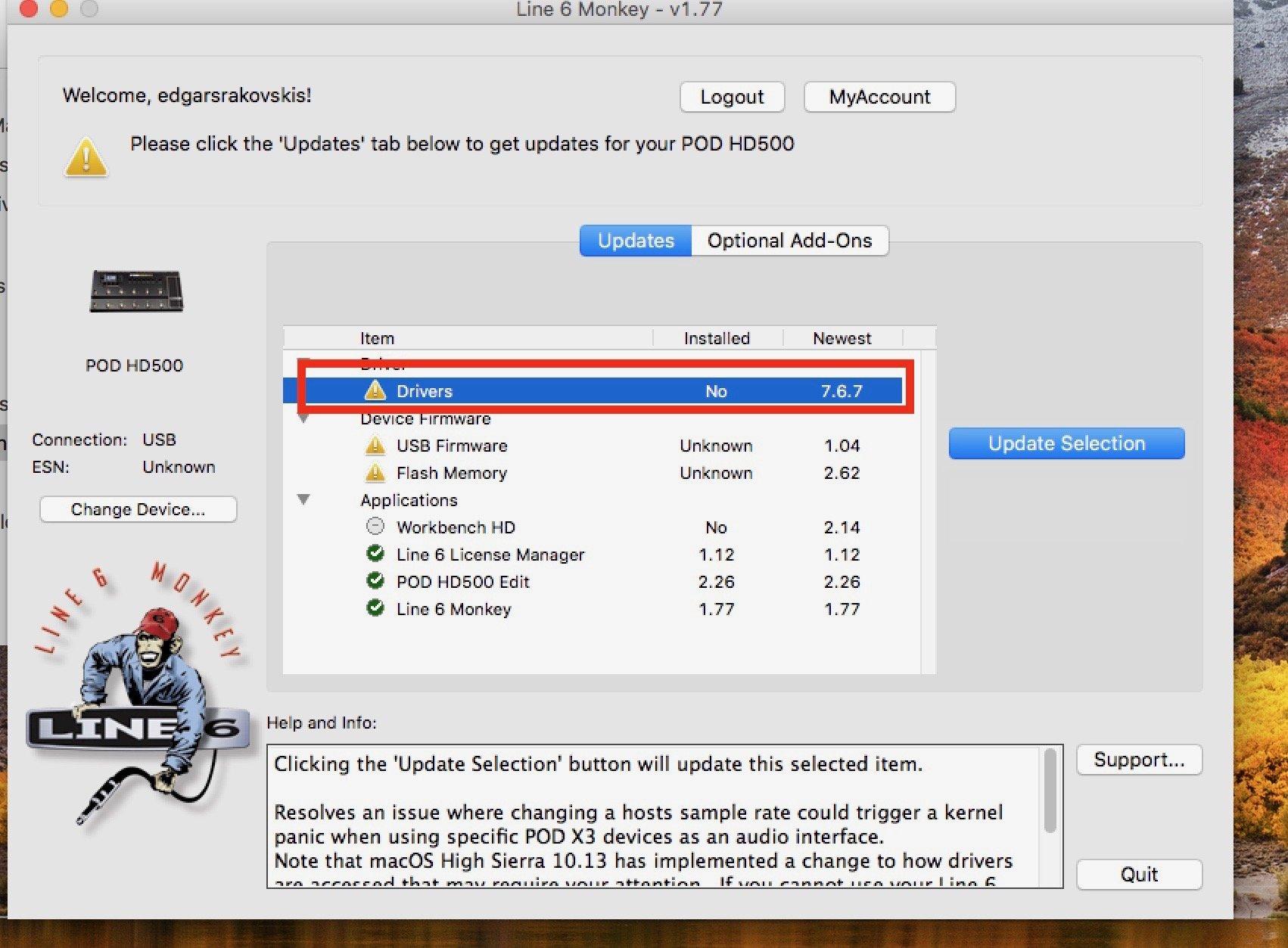 POD HD500 Driver not installing in High Sierra - POD HD